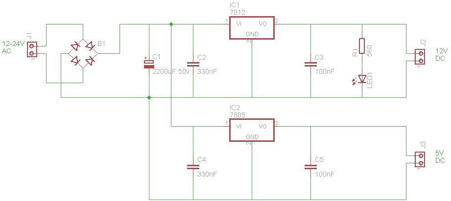 Alimentatore doppia tensione for Costruire un temporizzatore 12v